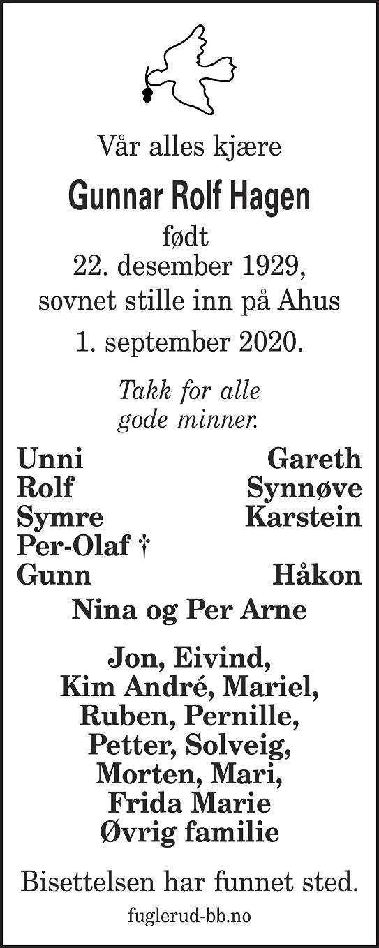 Gunnar Rolf Hagen Dødsannonse