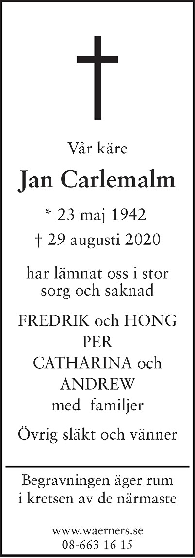 Jan Carlemalm Death notice