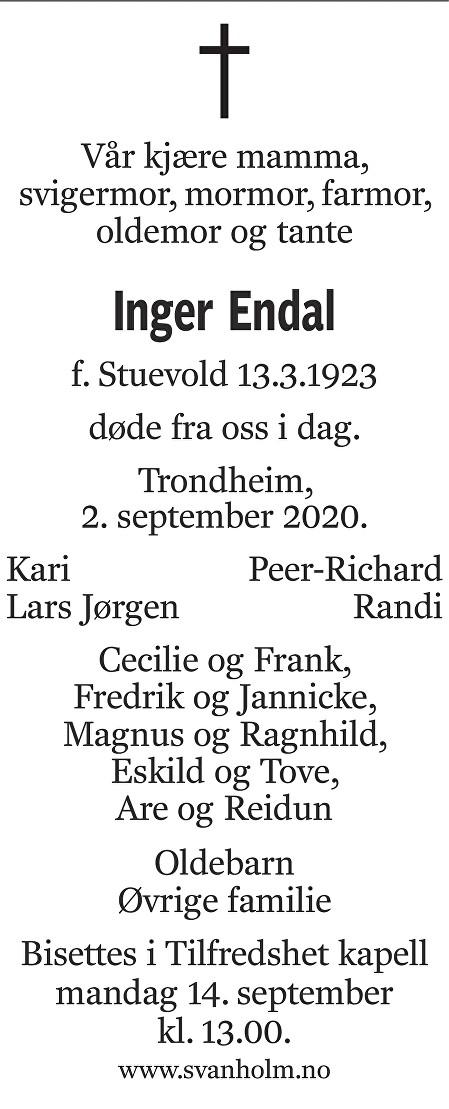 Inger Kristine Endal Dødsannonse