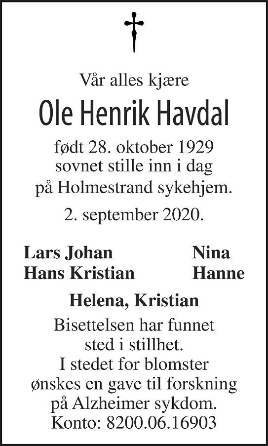 Ole Henrik Arnfinn Havdal Dødsannonse