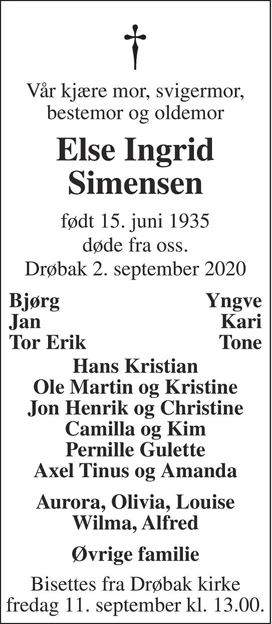 Else Ingrid Simensen Dødsannonse