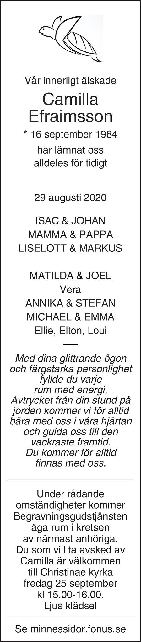 Camilla Efraimsson Death notice