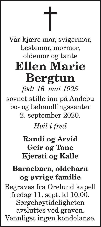 Ellen Marie Bergtun Dødsannonse