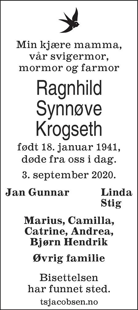 Ragnhild Synnøve Krogseth Dødsannonse
