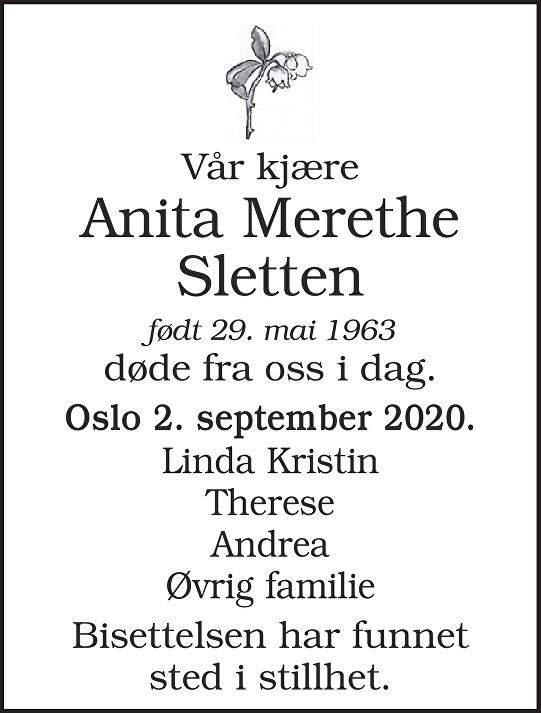 Anita Merethe Sletten Dødsannonse