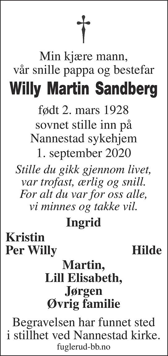 Willy Martin Sandberg Dødsannonse