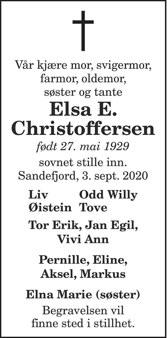 Elsa E. Christoffersen Dødsannonse