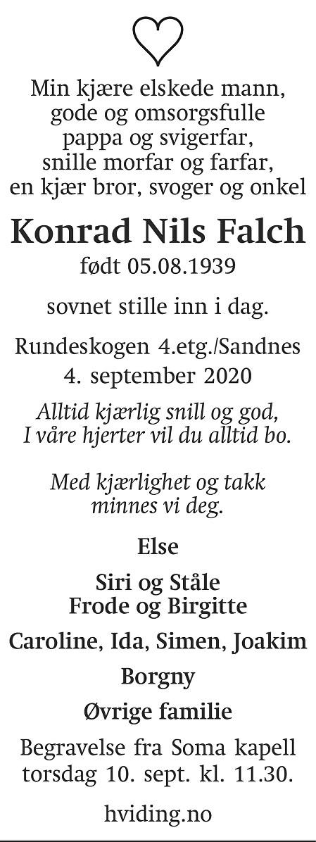 Konrad Nils Falch Dødsannonse