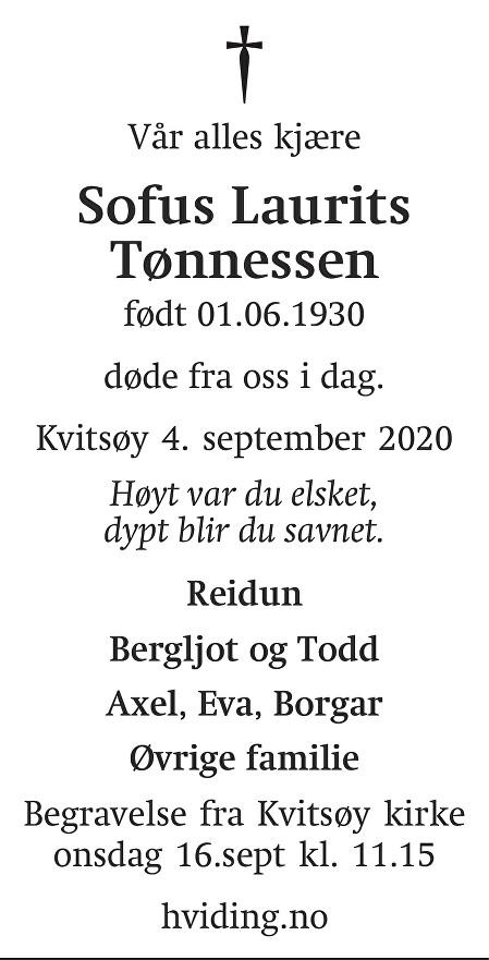 Sofus Laurits Kalvik Tønnessen Dødsannonse