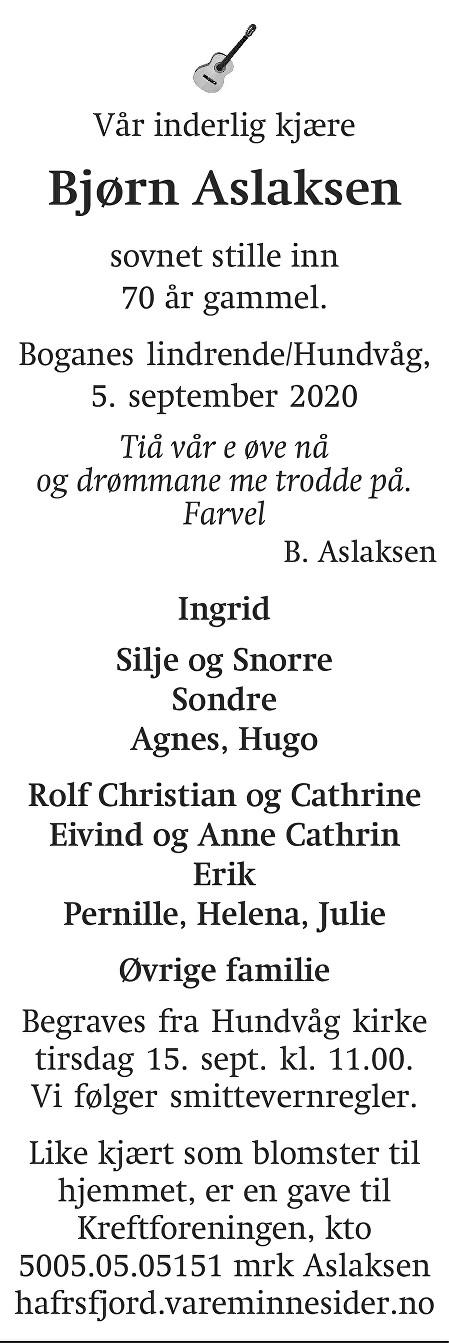 Bjørn Kåre Aslaksen Dødsannonse