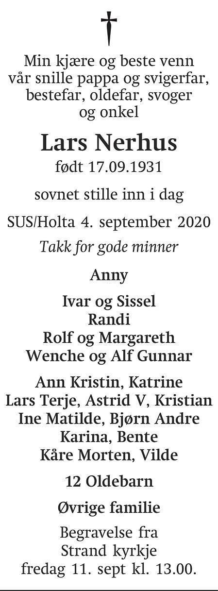 Lars Nerhus Dødsannonse