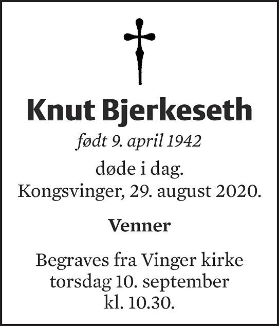 Knut Bjerkeseth Dødsannonse