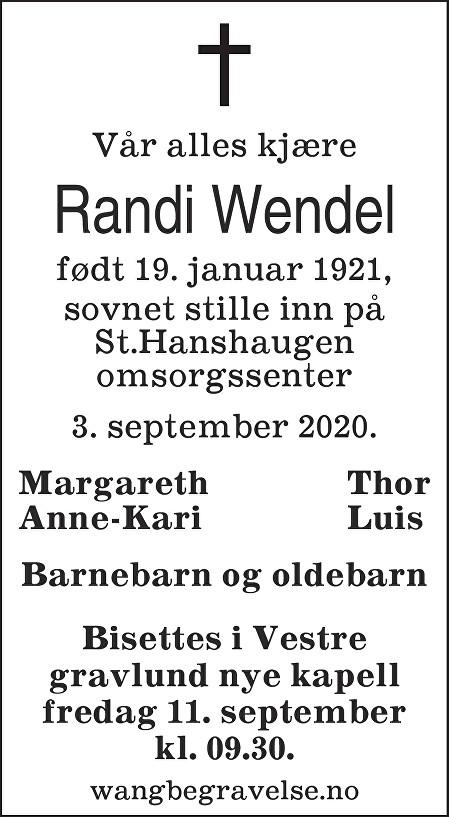 Randi Margrethe Wendel Dødsannonse