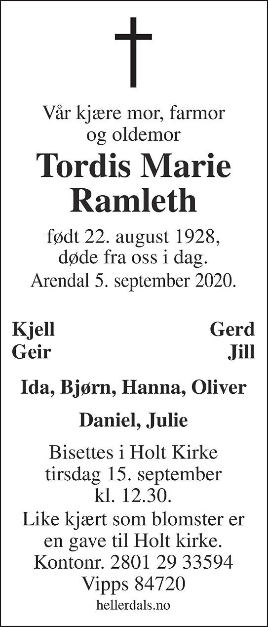 Tordis Marie Ramleth Dødsannonse