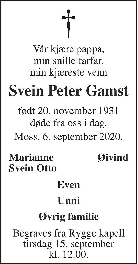 Svein Peter Gamst Dødsannonse