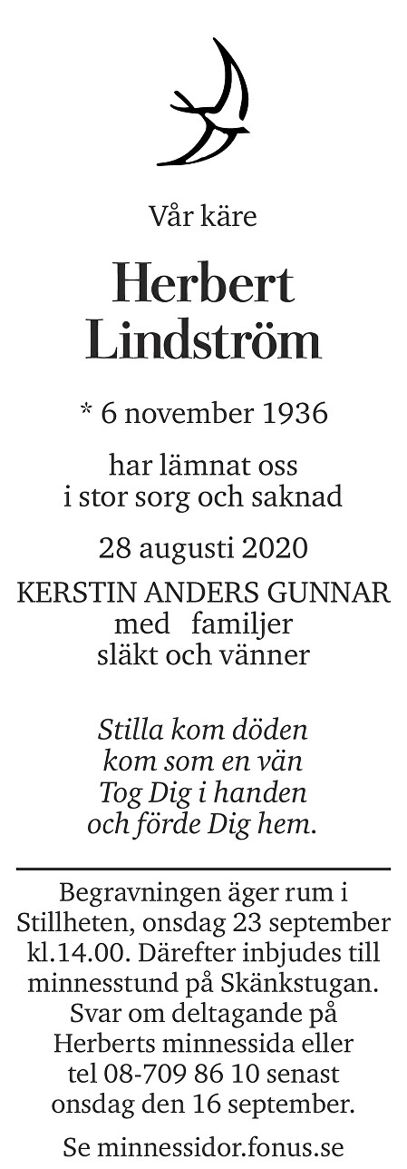 Herbert Lindström Death notice