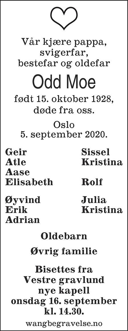 Odd Moe Dødsannonse