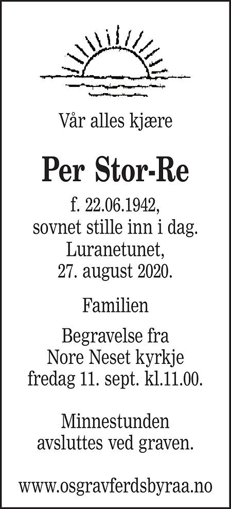 Per Stor-Re Dødsannonse