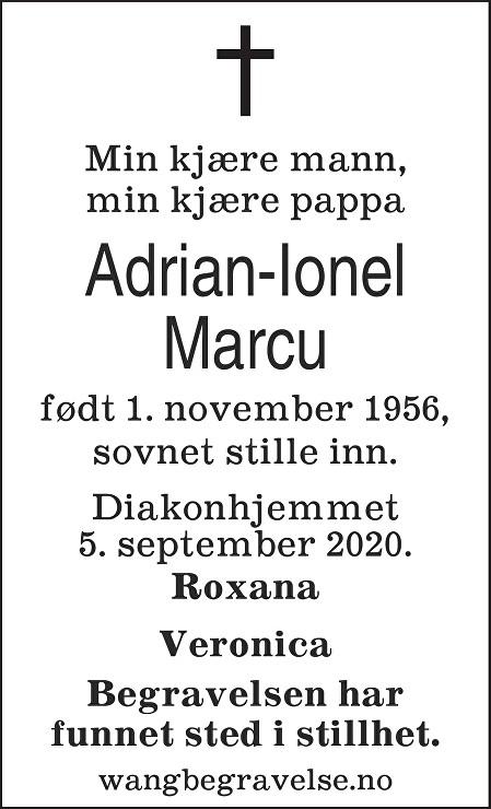 Adrian-Ionel Marcu Dødsannonse