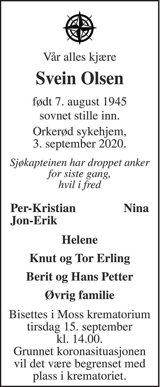 Svein Olsen Dødsannonse