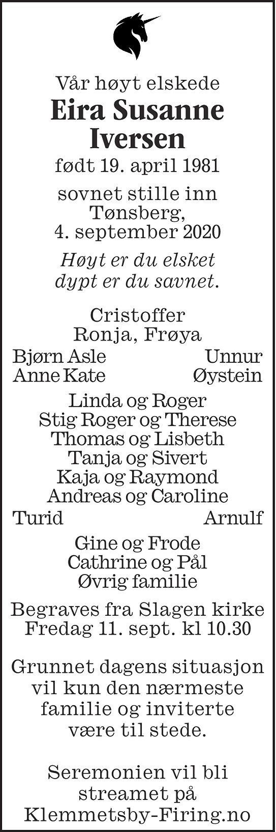 Eira Susanne Iversen Dødsannonse