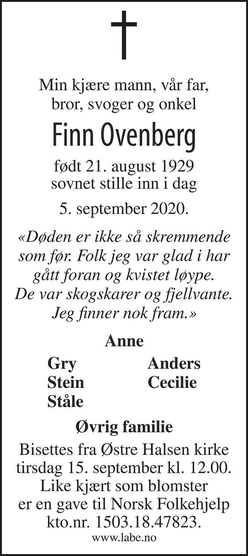Finn Ovenberg Dødsannonse