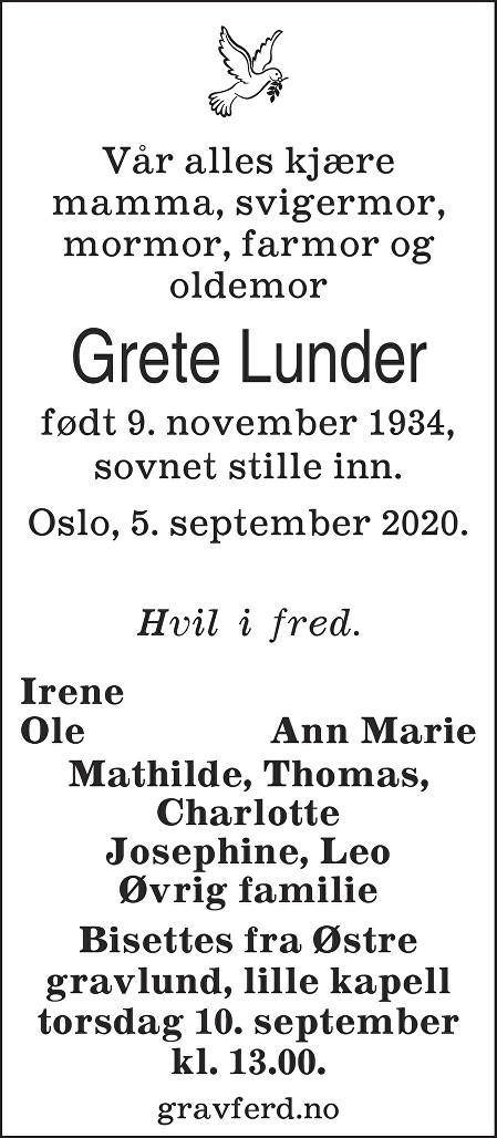 Grete Randi Lunder Dødsannonse