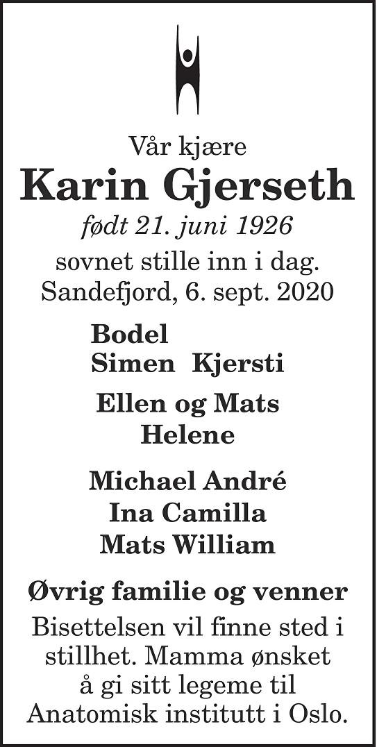 Karin Gjerseth Dødsannonse