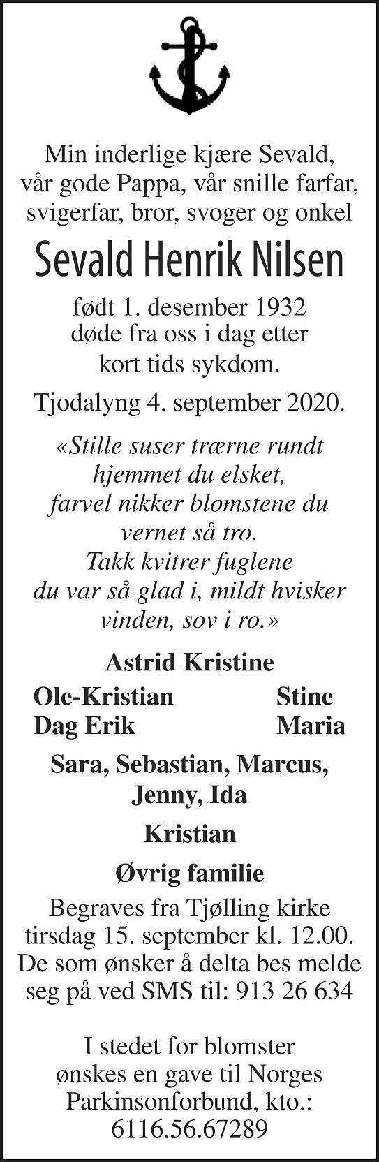 Sevald Henrik Nilsen Dødsannonse