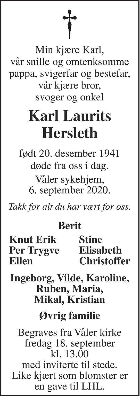 Karl Laurits Hersleth Dødsannonse
