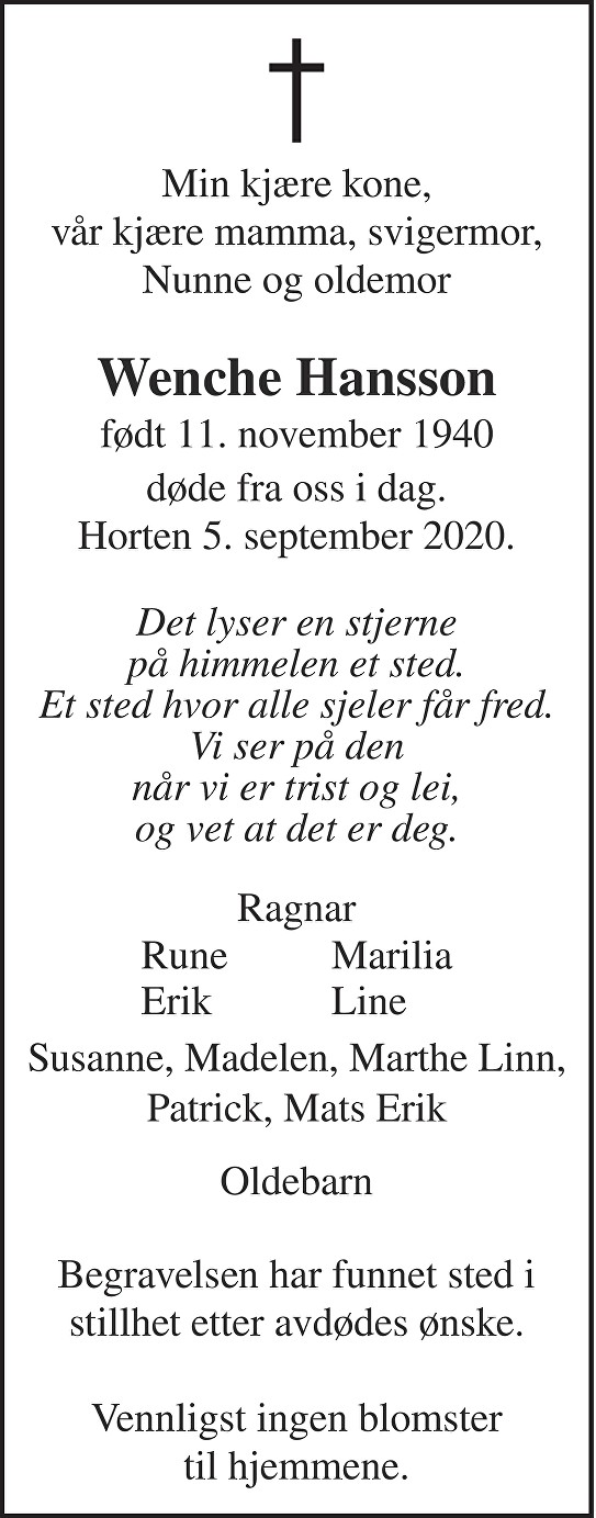 Wenche Hansson Dødsannonse