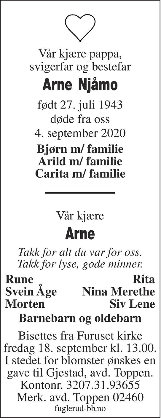 Arne Kristian Njåmo Dødsannonse