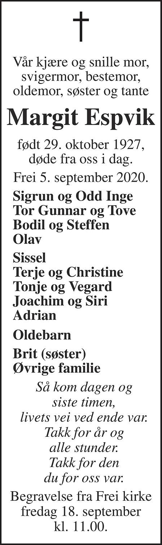 Margit Bergliot Espvik Dødsannonse