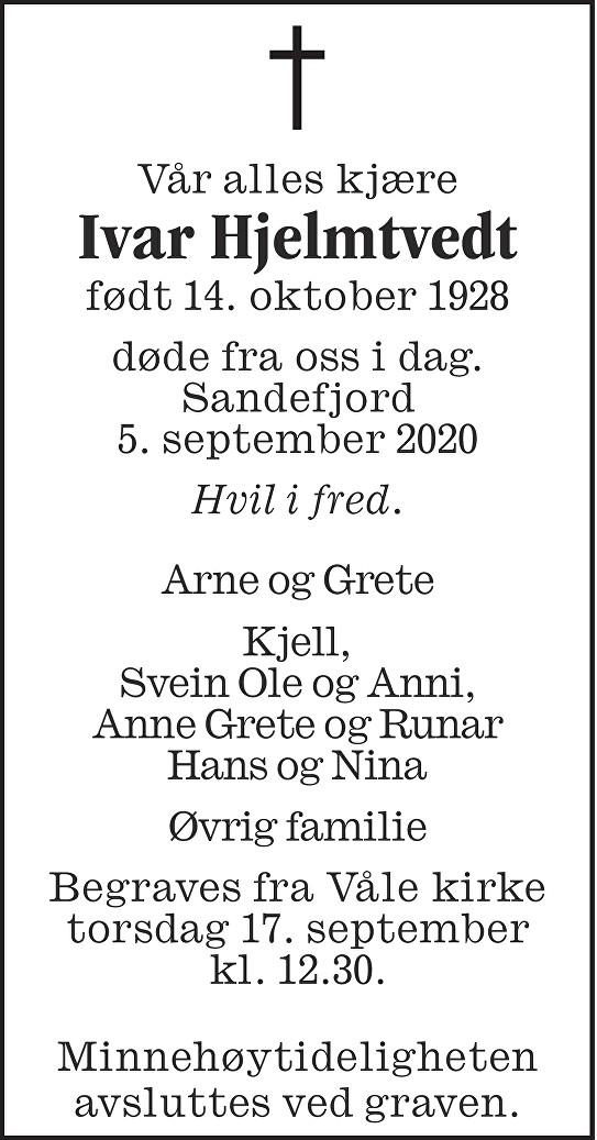 Ivar Hjelmtvedt Dødsannonse