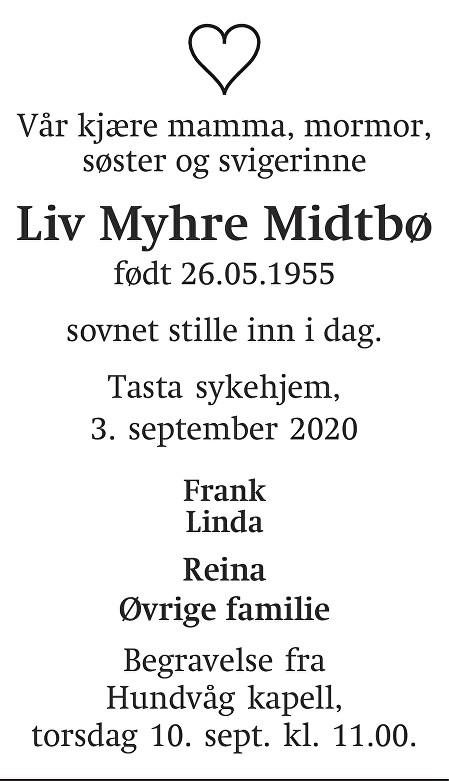 Liv Myhre Midtbø Dødsannonse
