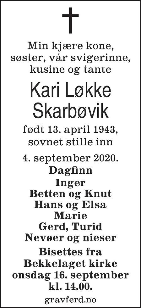 Kari Løkke Skarbøvik Dødsannonse