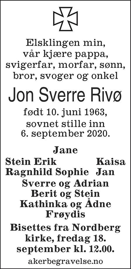 Jon Sverre Rivø Dødsannonse