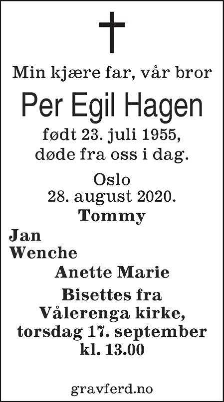 Per Egil Hagen Dødsannonse