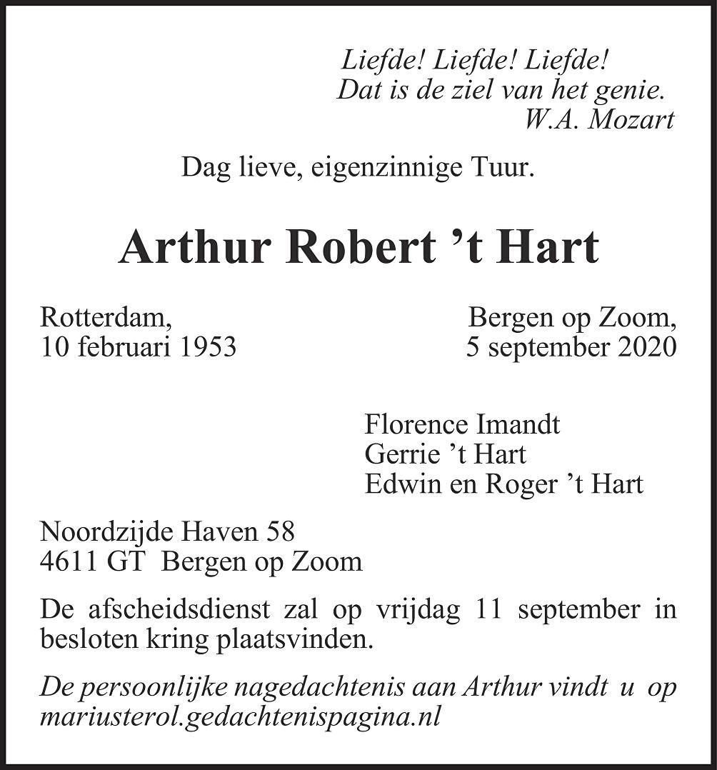 Arthur 't Hart Death notice