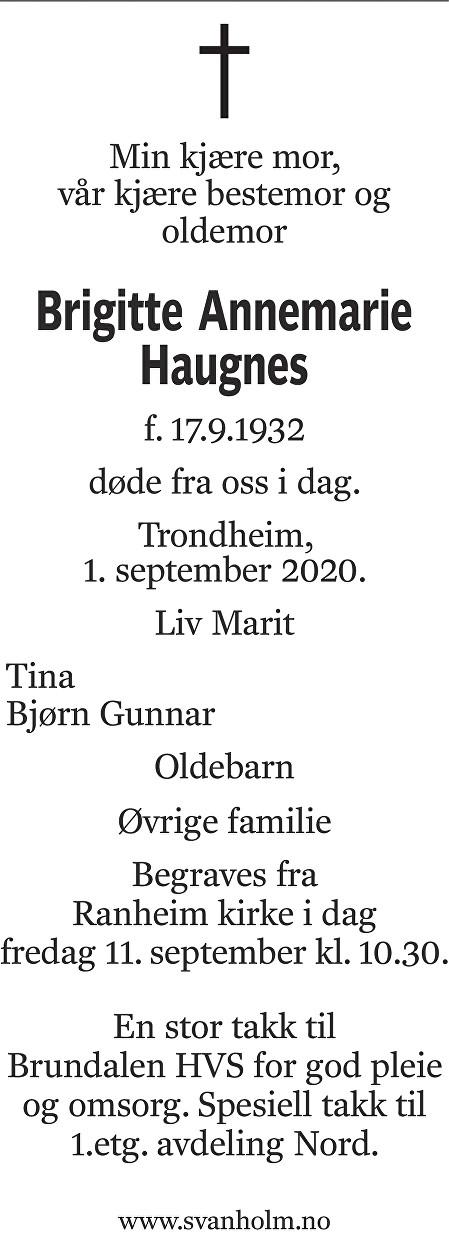 Brigitte Annemarie Haugnes Dødsannonse