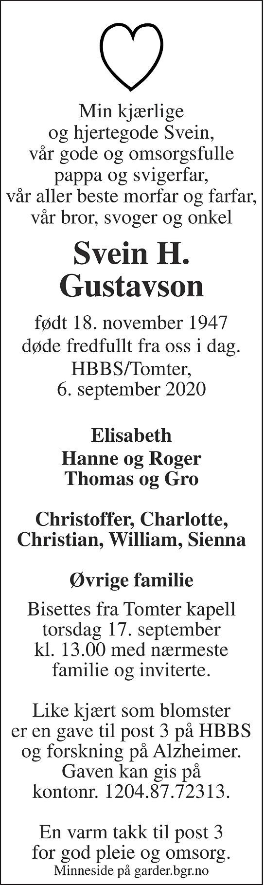 Svein Harry Gustavson Dødsannonse
