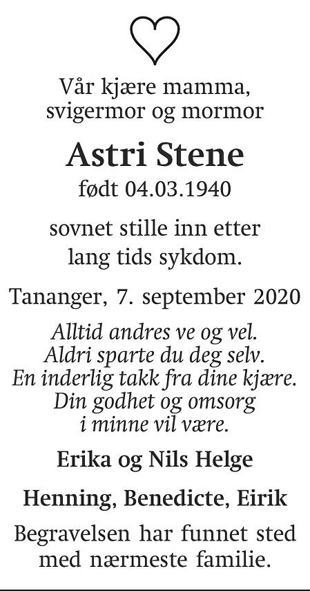 Astri Stene Dødsannonse