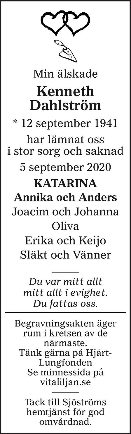 Kenneth Dahlström Death notice
