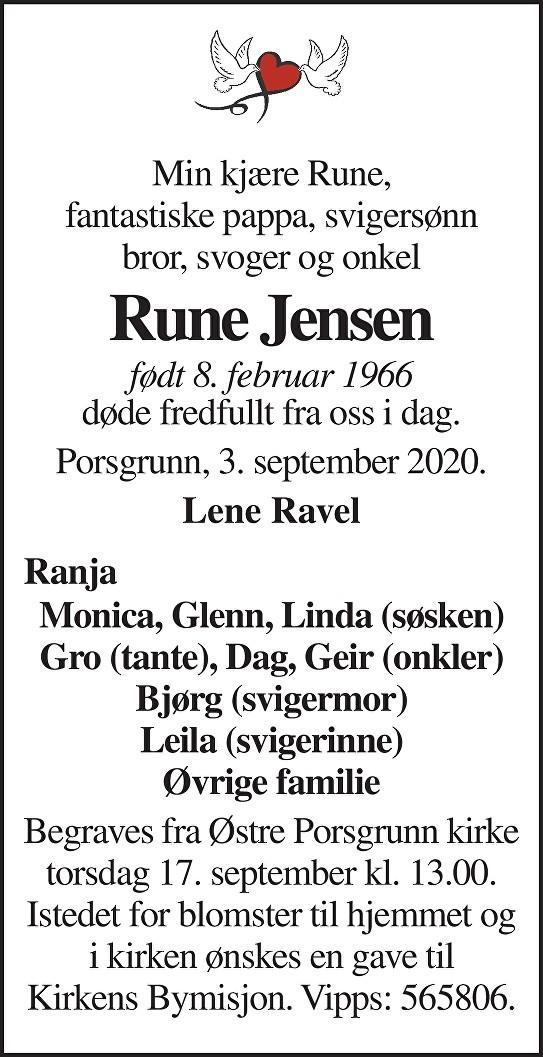 Rune Jensen Dødsannonse