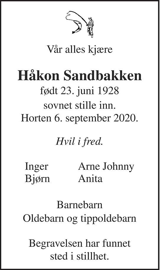Håkon Sandbakken Dødsannonse