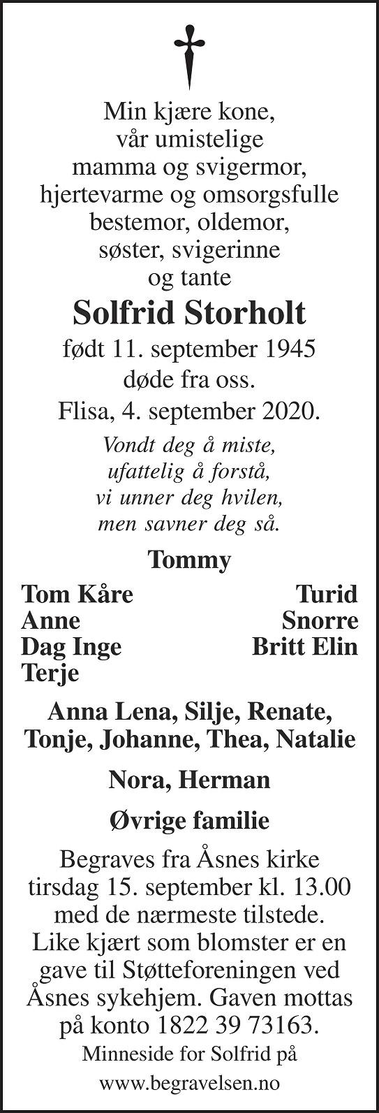 Solfrid Anne Karin Storholt Dødsannonse
