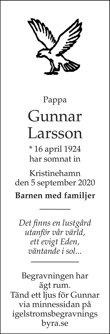 Gunnar Larsson Death notice