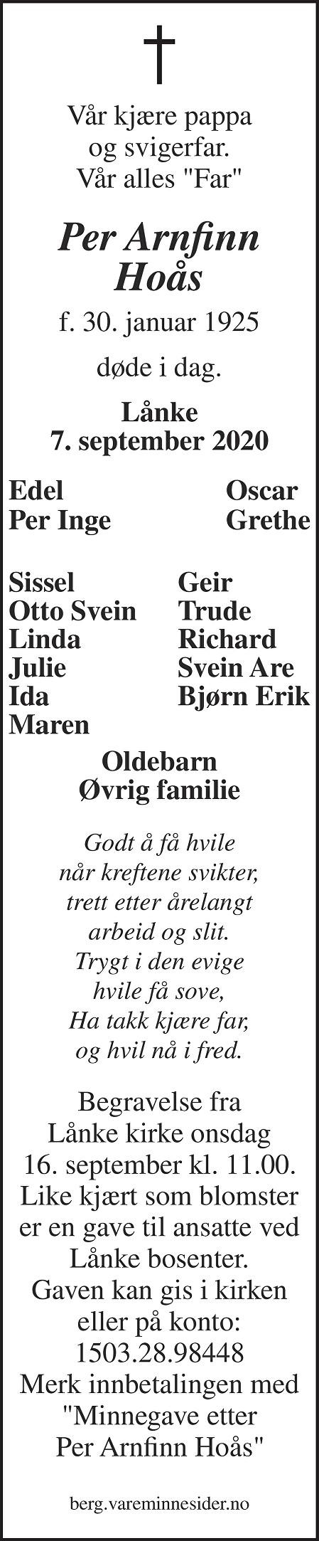 Per Arnfinn Hoås Dødsannonse