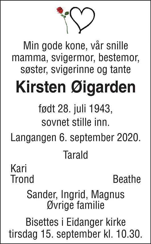 Kirsten Britt Øigarden Dødsannonse