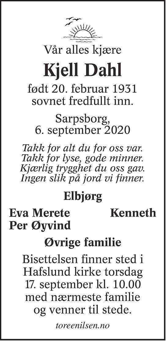 Kjell Dahl Dødsannonse